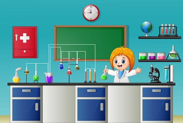 Kreskówki dziewczyna robi chemicznemu eksperymentowi w laboratorium