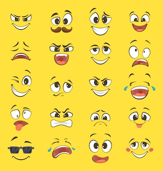 Kreskówki emocje z śmiesznymi twarzami z dużymi oczami i śmiechem. wektorowi emoticons na żółtym tle