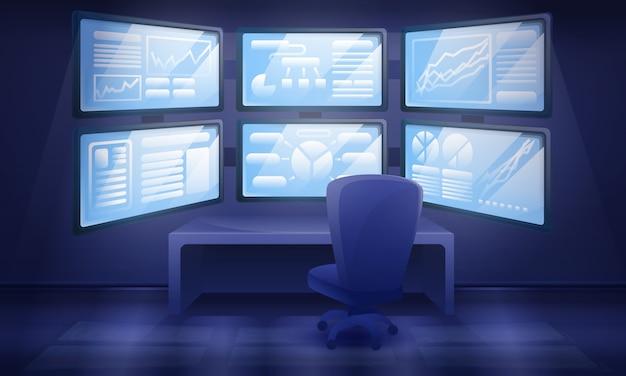 Kreskówki gabinetowy wnętrze z wiele monitorami, wektorowa ilustracja