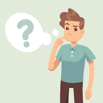 Kreskówki główkowania mężczyzna z znakiem zapytania w myśl bąblu