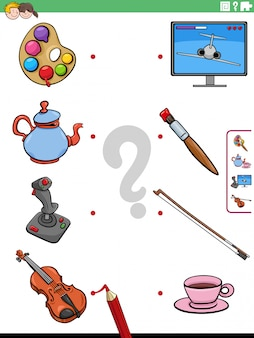 Kreskówki ilustracja edukacyjna dopasowywanie gra dla dzieci z przedmiotami