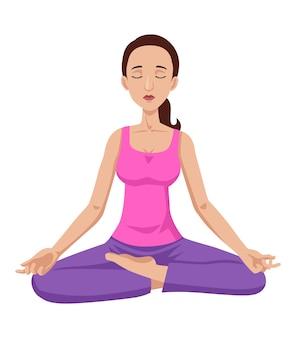 Kreskówki ilustracja kobiety medytować