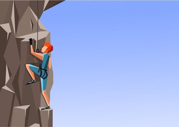 Kreskówki ilustracja mężczyzna wspina się skałę na błękitnym tle.