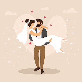 Kreskówki ilustracja para właśnie poślubiająca. cartoon event wedding flat.