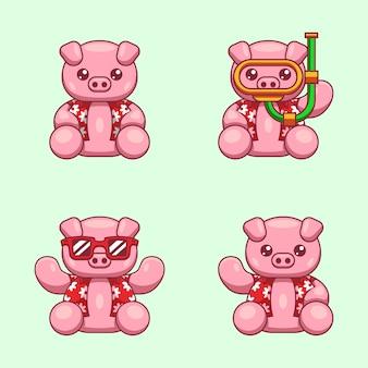 Kreskówki ilustracja różowa świnia z lato koszula przygotowywającą dla światowego oceanu dnia