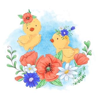 Kreskówki ilustracja śliczny kurczak w wianku czerwoni kwiaty