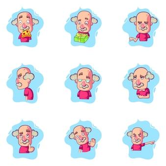 Kreskówki ilustracja starego człowieka set