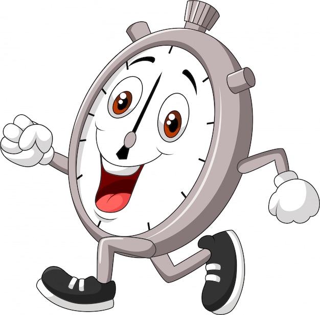 Kreskówki ilustracja uśmiechnięty stopwatch bieg