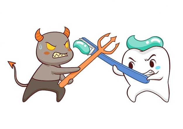 Kreskówki ilustracja zębów walczące bakterie.