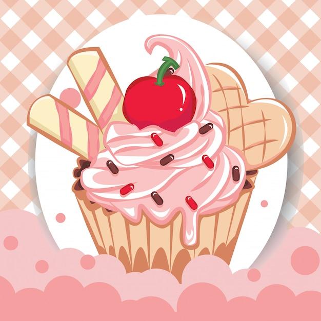 Kreskówki ilustracje babeczki z bezszwowym wzorem. słodycze na przyjęcie urodzinowe. słodkie deserowe jedzenie i urodzinowa pyszna babeczka