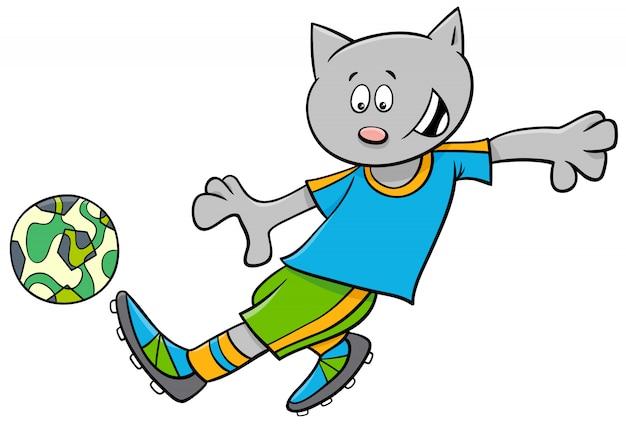 Kreskówki ilustracje kota futbolu lub gracza piłki nożnej charakter z piłką