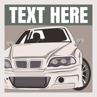 Kreskówki ilustracyjny retro, rocznik, klasyczny samochód
