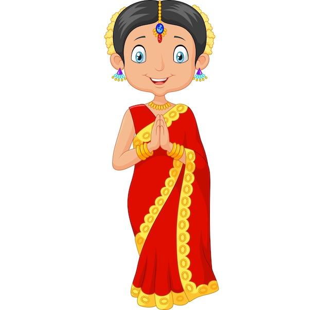 Kreskówki indiańska dziewczyna jest ubranym tradycyjną suknię