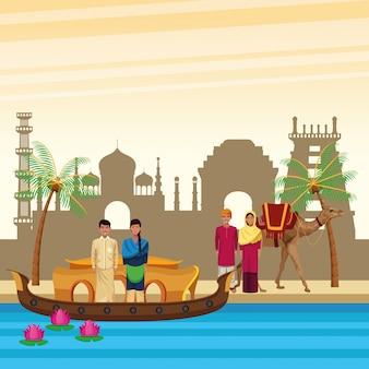 Kreskówki indyjskich ludzi etnicznych w mieście