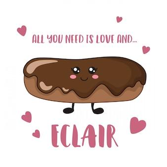Kreskówki kawaii czekoladowy eclair na biel karty szablonie