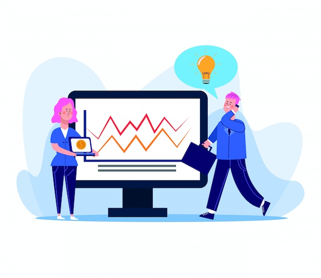 Kreskówki kobieta i biznesmen z komputerem z graficzną mapą