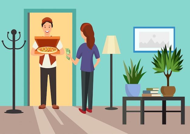 Kreskówki kobieta spotyka kuriera z pizzą w drzwi
