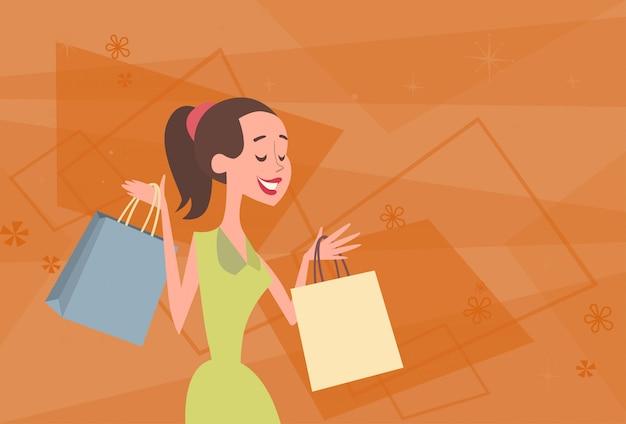 Kreskówki kobieta z torba na zakupy dużą sprzedaż sztandarem