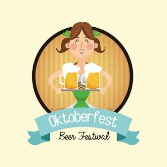 Kreskówki kobiety dziewczyny sukni piwa festiwalu oktoberfest germany ikona