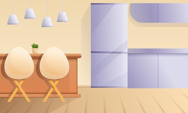 Kreskówki kuchnia z barem i krzesłami, wektorowa ilustracja