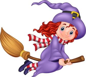Kreskówki latająca czarownica z miotłą