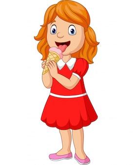 Kreskówki mała dziewczynka je lody