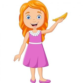 Kreskówki małej dziewczynki mienia banan