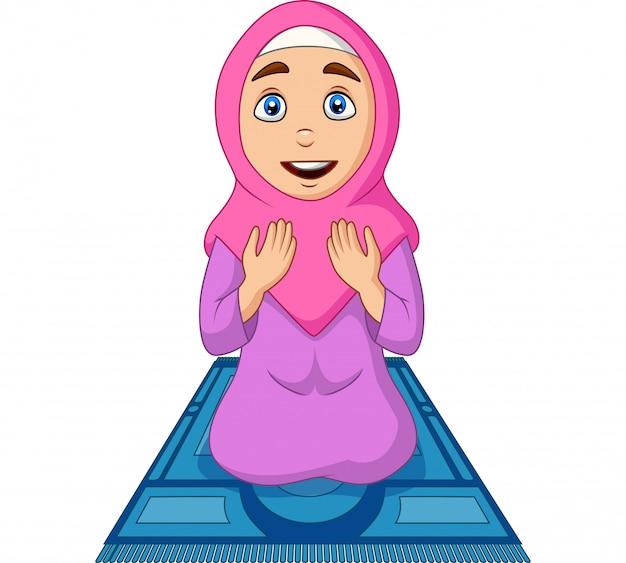 Kreskówki muzułmańska kobieta ono modli się na modlitewnym dywaniku