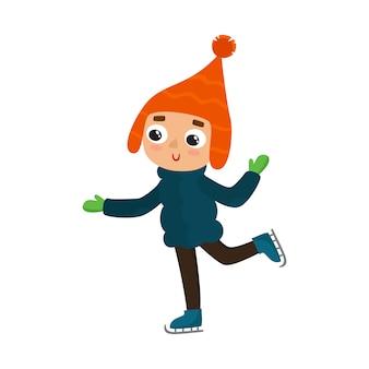 Kreskówki nastoletni chłopak z zim łyżwami, ilustracja odizolowywająca na białym tle. pełnometrażowy portret nastolatka na łyżwach, zabawy zimowe, czas wolny na świeżym powietrzu