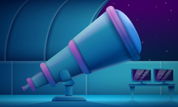 Kreskówki obserwatorium z teleskopem przy nocą, wektorowa ilustracja
