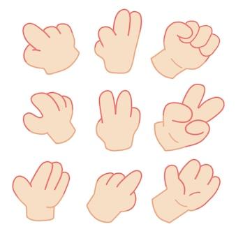 Kreskówki ręka wskazuje ustaloną ilustrację