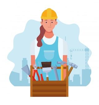 Kreskówki remontowa kobieta i naprawy narzędzi pudełko