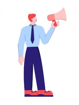 Kreskówki samiec w kostiumu gatunku ambasadorze opowiada używać megafon odizolowywającego na bielu