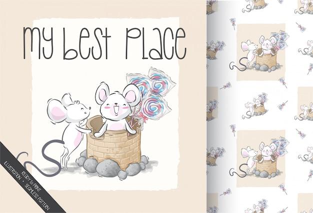 Kreskówki śliczna dziecko mysz na piaska kasztelu bezszwowym wzorze
