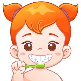 Kreskówki śliczna dziewczyna szczotkuje jego zęby