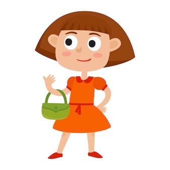 Kreskówki śliczna dziewczyna z małymi torbami. ilustracja mała stylowa dziewczyna w czerwonej sukni odizolowywającej na bielu. portret urocza berbeć dziewczyna jest ubranym modę odziewa. moda dla dzieci.