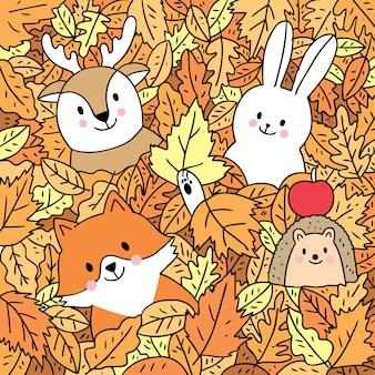 Kreskówki śliczna jesień, lis, rogacz, królik i jeż w urlopu wektorze.