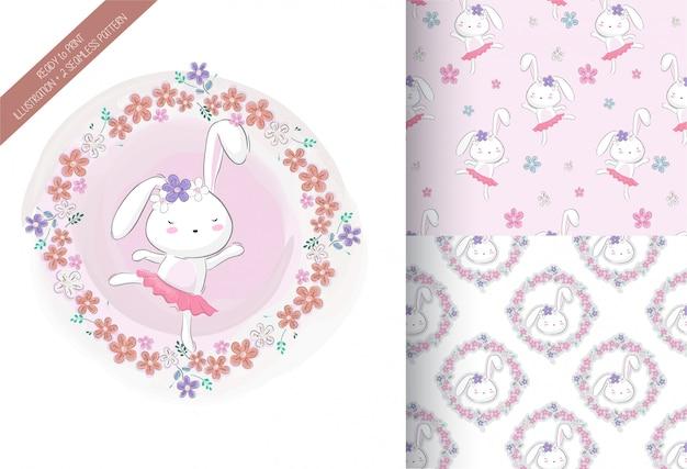 Kreskówki śliczna królik dziewczyna z kwiatem