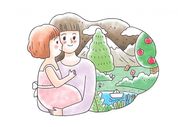 Kreskówki śliczna macierzysta przytulenia dziecko i natura
