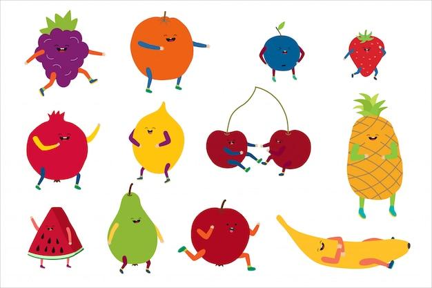 Kreskówki śliczna owocowa ilustracja, szczęśliwy śmieszny kawaii zdrowy karmowy charakter z uśmiechem, słodkie owoc ustawia ikony na bielu