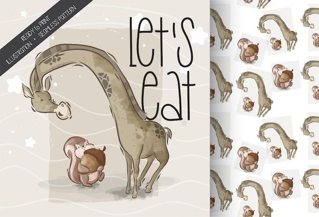 Kreskówki śliczna wiewiórka z żyrafa bezszwowym wzorem
