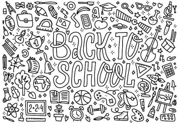 Kreskówki śliczni doodles z powrotem do szkoły słowa