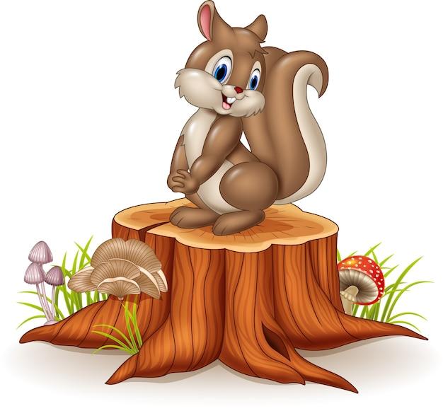 Kreskówki śmieszna wiewiórka na drzewnym fiszorku