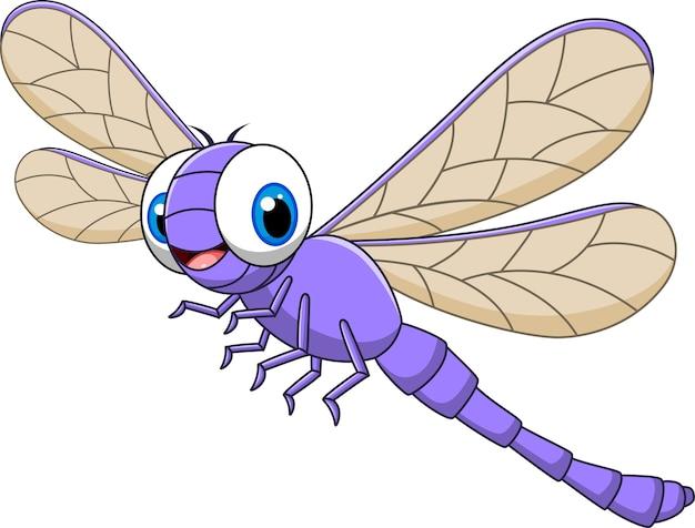 Kreskówki śmieszny dragonfly odizolowywający na białym tle