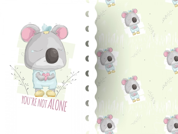 Kreskówki stylowa ilustracja misia pluszowego koali płacz