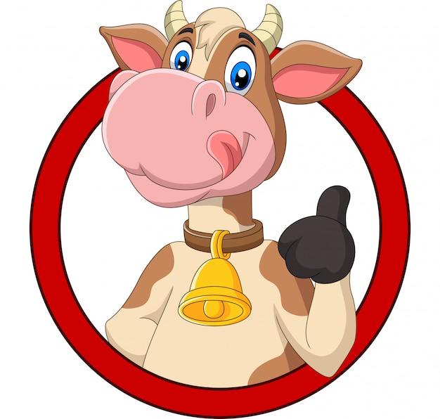 Kreskówki szczęśliwa krowa daje kciukowi up