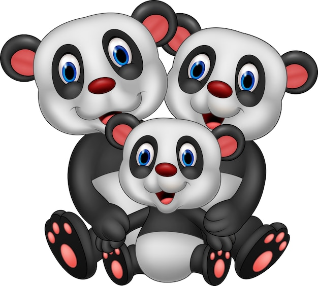Kreskówki szczęśliwa pandy rodzina odizolowywająca na białym tle