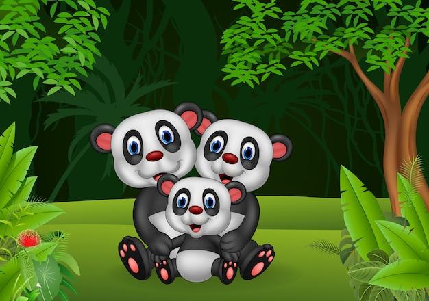 Kreskówki szczęśliwa pandy rodzina w dżungli