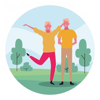 Kreskówki szczęśliwa para, kolorowy płaski projekt