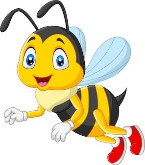 Kreskówki szczęśliwa pszczoła odizolowywająca na białym tle